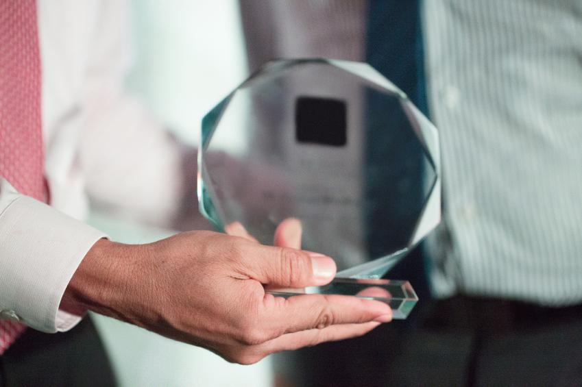 Man receiving award