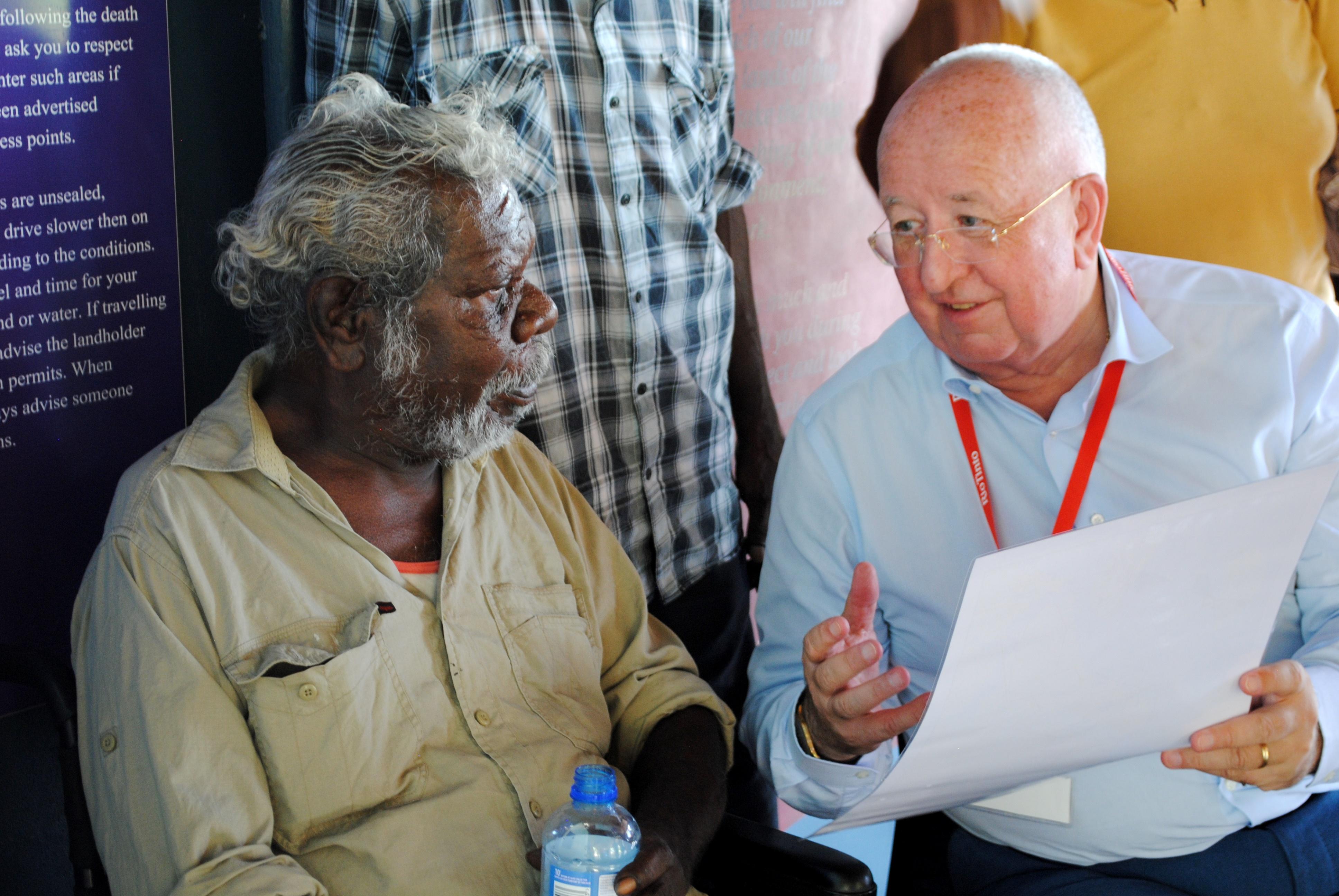 A. Senior Wik-Waya elder Tony Kerindun meeting with Rio Tinto chief executive Sam Walsh in Weipa this week