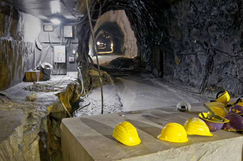 Underground mine in the Apuan Alps, Tuscany, group of yellow har