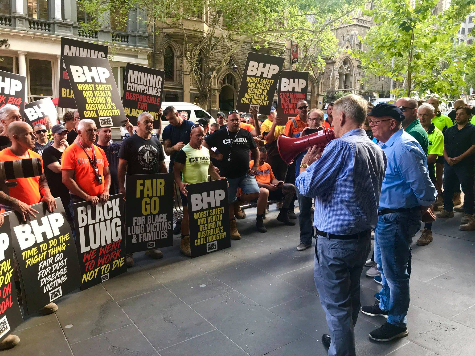 CFMEU Mining and Energy protest at BHP in Melbourne 2-19